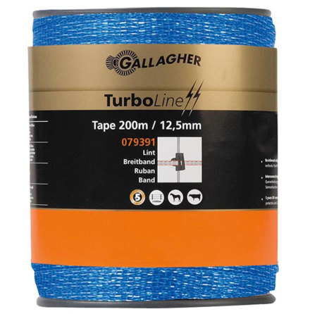 Elband Gallagher Turboline 12,5 mm Blå 200 meter. 0,09 Ohm/m